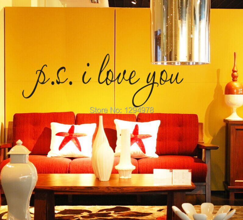 P.S.I LOVE YOU DIY Removable English Wall Stickers Wall Art Decal ...