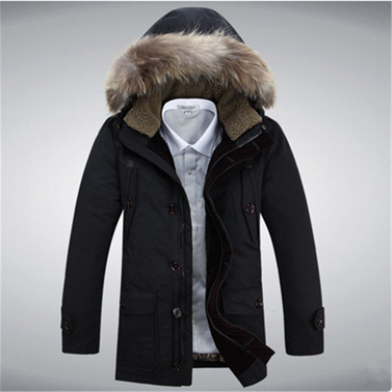 2018 New Thicken Warm Winter Duck Down Jacket for Men Fur Collar Parkas Hooded Coat Plus Size Overcoat Western Style