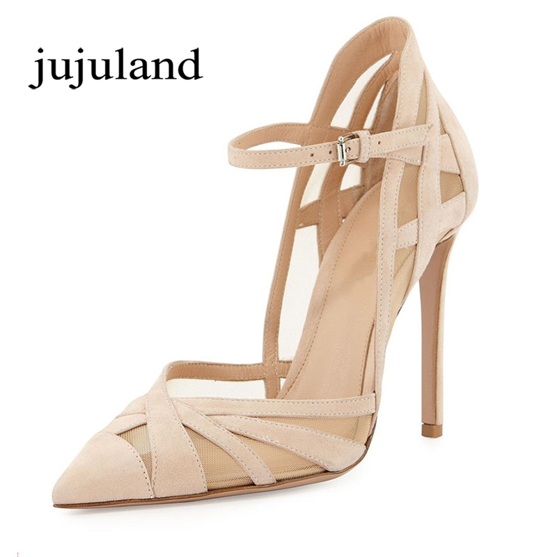 Spring/Autumn Women Shoes Pumps Fashion Party Flock Nubuck Mary Janes Thin Heel Pointed Toe Shallow Stilettos Buckle Strap Mesh цена и фото