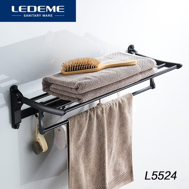 LEDEME Único Toalheiros Moda Simples Banho de Toalha de Banho Hardware Toalheiro de Alumínio Breve Dobrar Toalheiros Comprimento 60cm L5524