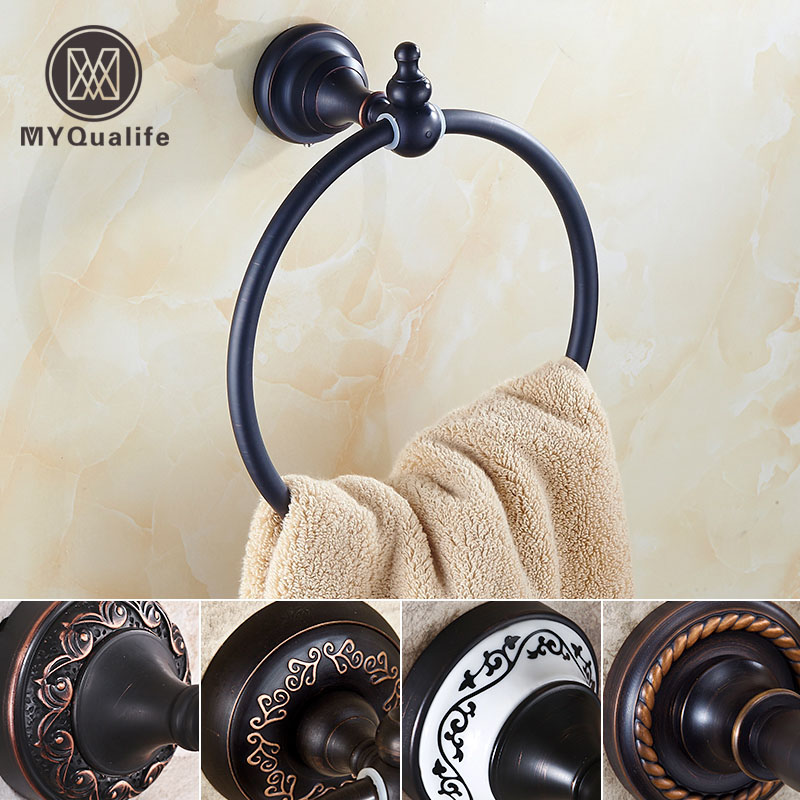 Oil Rubbed Bronze Bathroom Kitchen Towel Holder Wall Mounted Brass Towel Bar Round Towel Ring Free Shipping free ship beauty oil rubbed bronze bath towel rings soild brass towel bracket
