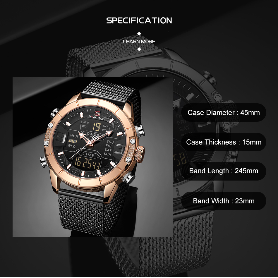 NAVIFORCE 2019 Men Military Waterproof LED Quartz Sport Watches Military Stainless Steel Mesh Male Business Relogio Masculino  (3)