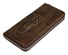100% Genuine Leather Men Wallets Crocodile Pattern Crazy Horse Leather Men Clutch Bag with Coin Pocket Card Holder Brown J8067