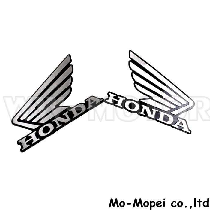Chrome 3d Motorcycle 2pcs Fuel Gas Petrol Tank Wing Decal Stickers