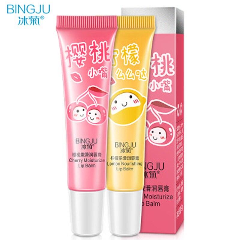 BINGJU Natural Fruit Cherry Lemon Lip Care Balm Moisturizing Lip Protector Sweet Taste Embellish Lip Ball Lip Skin Care