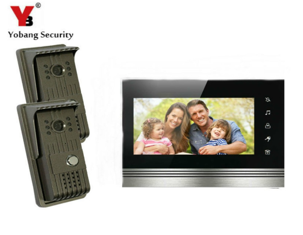 YobangSecurity 7 Inch Color Touch Button Video Door Phone Doorbell Intercom Entry System Kit With Metal Case 2 Camera 1 Monitor yobangsecurity rainproof video door phone doorbell 7 inch home entry intercom system kit 2 monitors 1 camera with rfid id keyfob