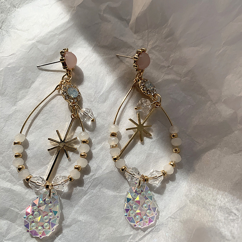 baroque style earrings snowflake shape Crystal Pendant Silver Needle earrings Eardrop Fairy Elegant Ear Jewelry in Drop Earrings from Jewelry Accessories