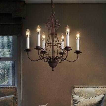 Vintage Industrial LED Pendant Lights 6 Lights Iron Birdcage Hanging Lamp Retro Droplight Fixtures For Home Lighting Bar Dining