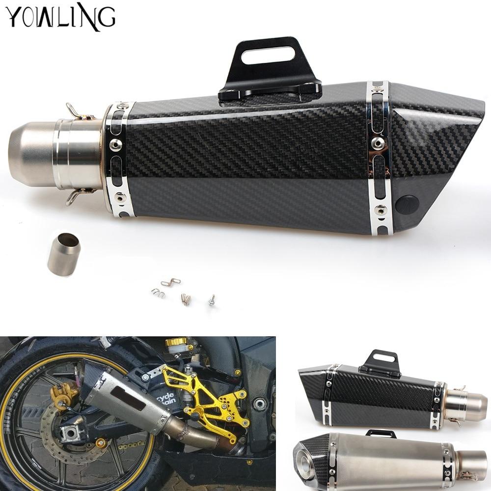 Universal Motorcycle Real carbon fiber exhaust Muffler pipe For Honda CBR 600 F2 F3 F4 F4I 1991-2007 CB600 Hornet 1998-2006