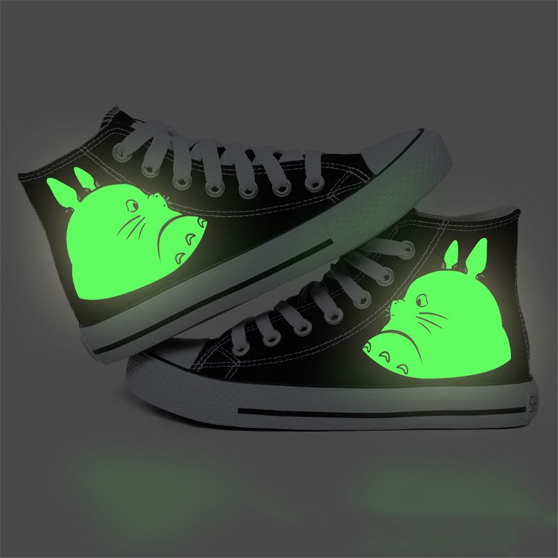 high quality hand-painted shoes high lace Cosplay luminous chinchilla Hayao Miyazaki couple hand-painted shoes 35-42