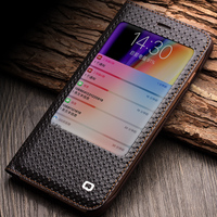 QIALINO 2018 Cover For iPhoneX 8 Fashion Pattern Genuine Leather Cover Case for iPhone 8 X Case smart window view flip cover