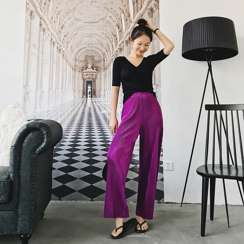 2018 spring summer new fashion women Vintage High waist Wide Leg Pants Women Full-Length Loose Soft Thin Pleated Pants Ladies