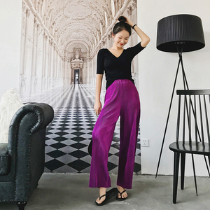 Image 2 - Calça larga feminina vintage, calça feminina de cintura alta comprimento total plissada, macia e solta para verão e primavera, nova moda, 2019 calças para senhoras