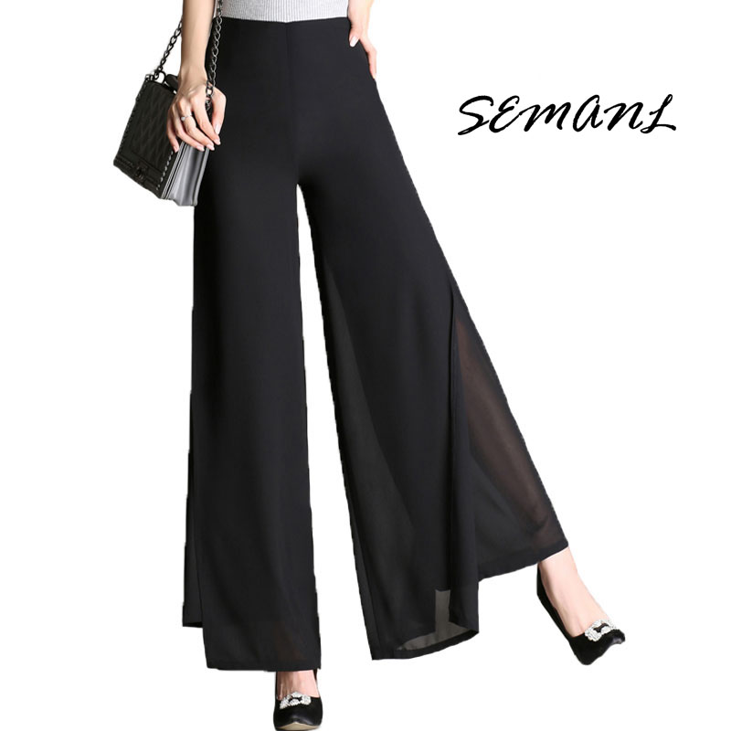 Autumn Plus Size 4XL High Waist Double-Deck Women Trousers Elegant Chiffon Wide Leg Pants Fashion Ladies Flare Dance Pant