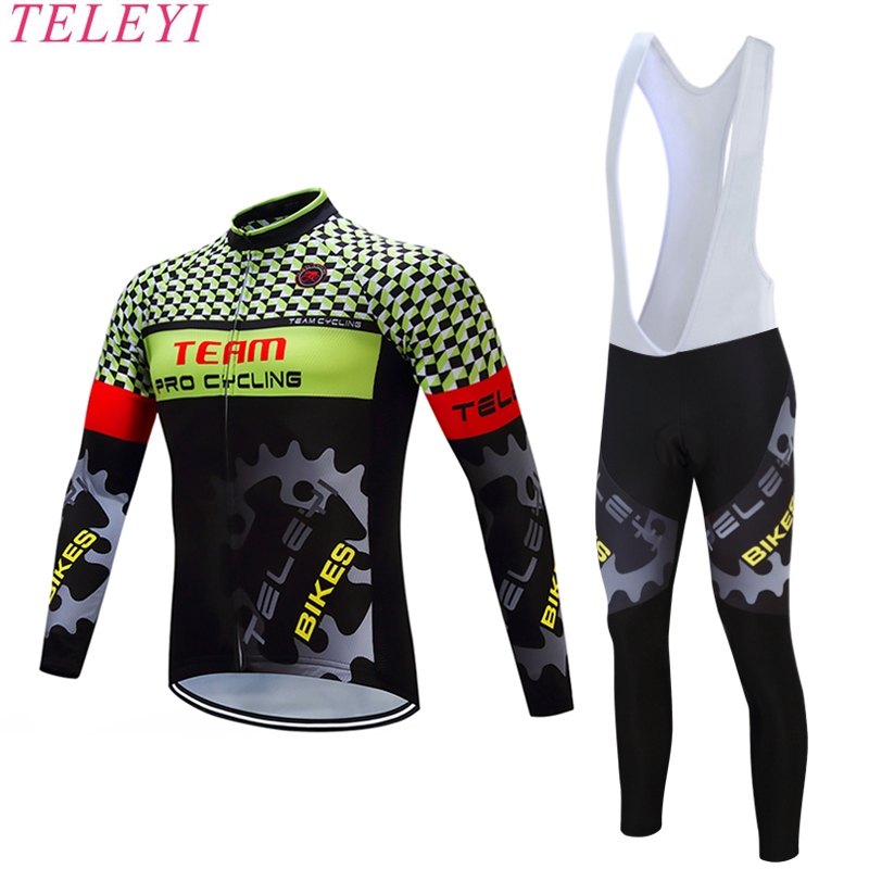 ФОТО teleyi Long Sleeve Breathable Cycling Clothing 3D Gel Pad Pants Sport Clothes Autumn MTB Road Bike Bicycle Cycling Jersey Set