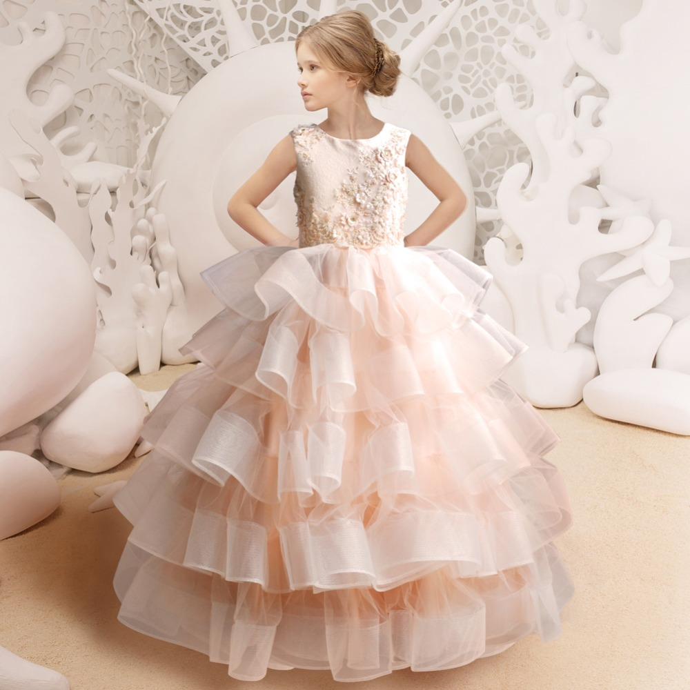 Luxury Peach Pink Dress Tulle Ball Gown Dress Quinceanera Dresses ...