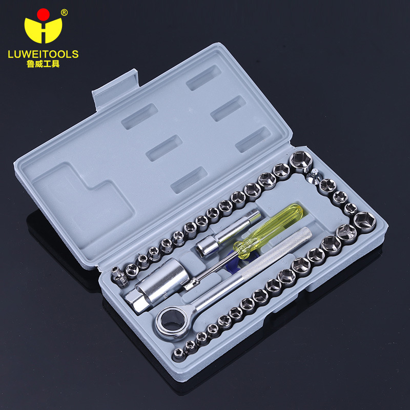 цена на LUWEI 40 Pcs Socket Ratchet Wrench Tool Set 1/4 3/8 Drive Size S.A.E & Metric