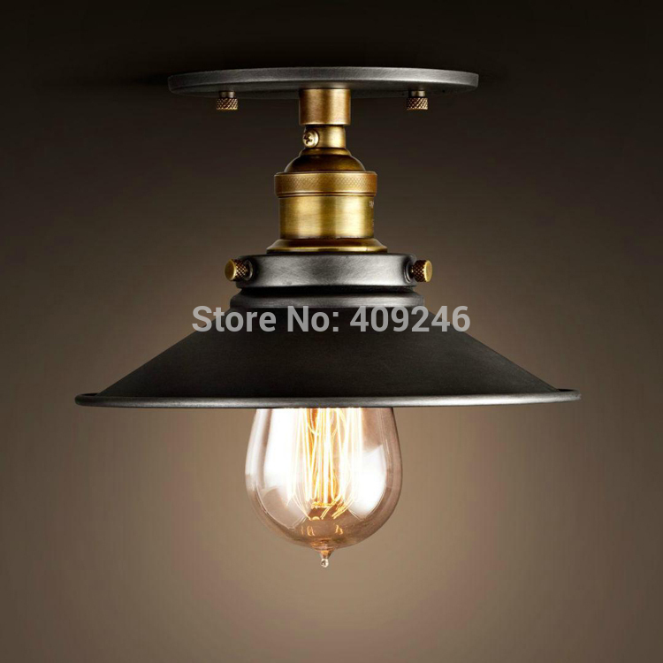 Loft 8.7 Inch Vintage Industrial E27 Edison Retro Metal Ceiling Light American Iron Semi Flush Mount Painted Finish Ceiling Lamp edison loft style vintage light industrial retro pendant lamp light e27 iron restaurant bar counter hanging chandeliers lamp