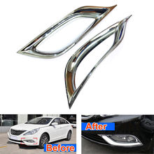 Molding Front Fog Lights Cover Trim Chrome Garnished Bezel Decoration Fits For Sonata YE I45 2011 2012 Car Styling car-covers