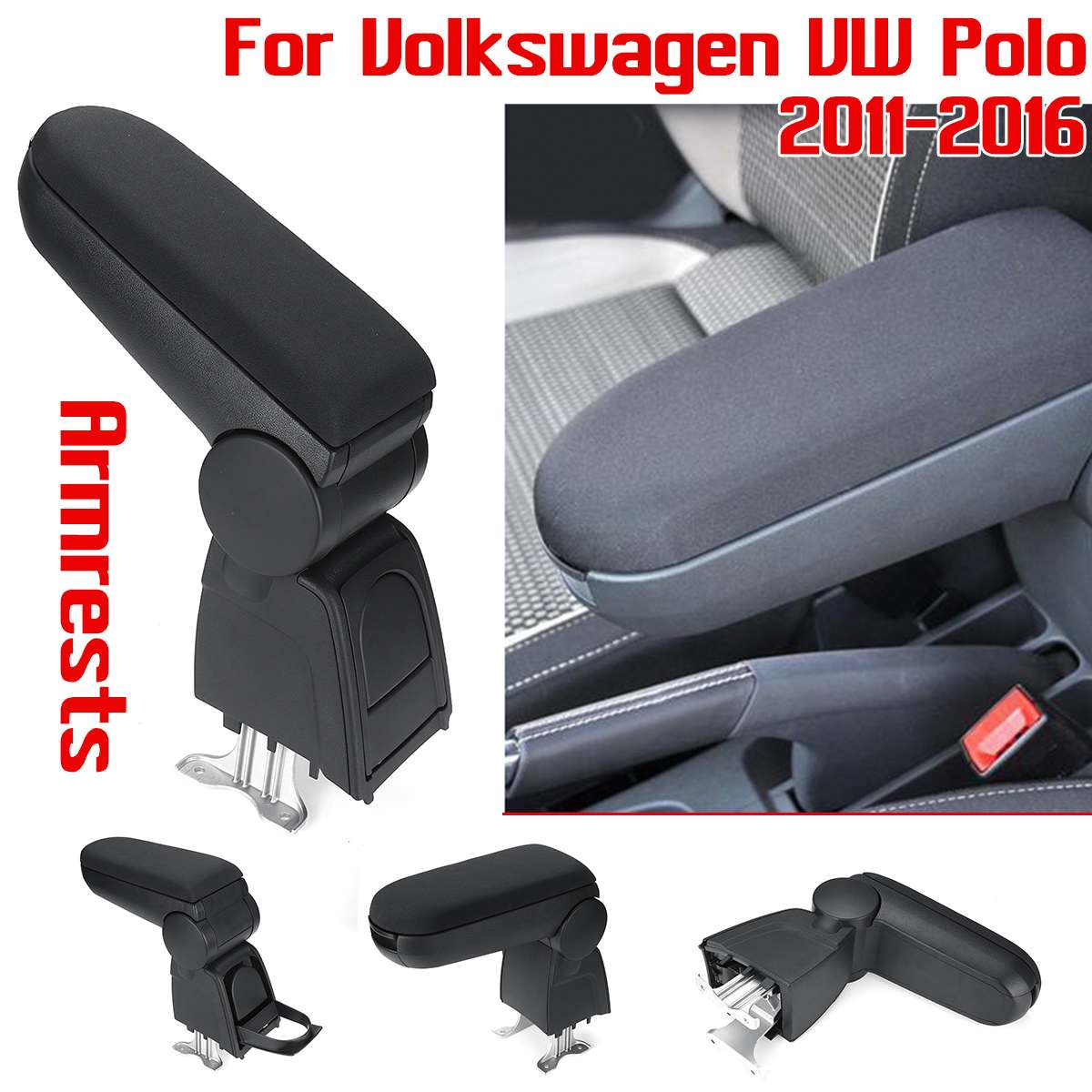 Armrests box with Cup holders leather storage case console interior car-styling accessory For Volkswagen for VW Polo 2011-2017Armrests box with Cup holders leather storage case console interior car-styling accessory For Volkswagen for VW Polo 2011-2017