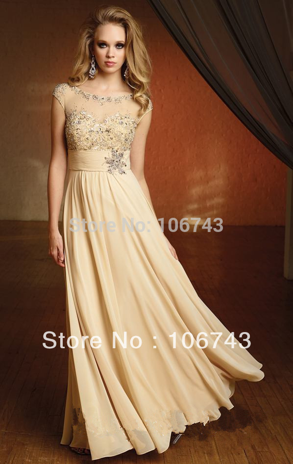 2018 champagne chiffon long Sexy vestido formales Custom princess empire beading dinner prom party gown   bridesmaid     dresses