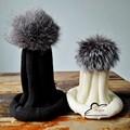 New Autumn Winter women cap real fox fur ball hat Pom poms 15CM woollen cap female thick protect ear warm Beanies Headgear