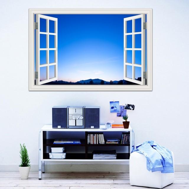 hd landscape wall sticker 3d wallpaper white cloud blue sky window