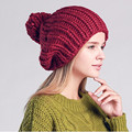 Fashion Winter Cap Handmade Knitting Beanie Hats for Women with Pom Pom