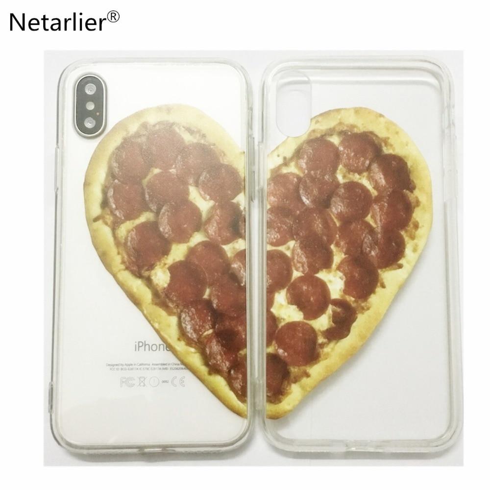 Netarlier чехол для iPhone X Высокое качество TPU + PC Материал <font><b>Pizza</b></font> Heart Best друзья пару печатных Пластик пиццы чехол для телефона крышка