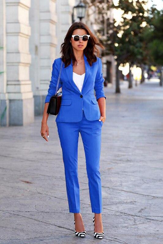 2016 Winter slim work wear Blazer Sets elegant women OL fashion formal blazer set plus size office business Blazers set female