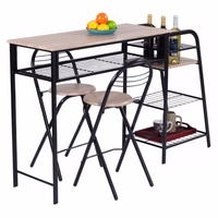 Giantex 3 PC Pub Dining Set Table Chairs Counter Height Home Breakfast w/Storage Shelves Dining Room Furniture HW52847