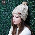 Lady Estilo Coreano Chapéu de Lã Feminina Outono e Inverno Quente Double Twist Cap Cap Cabeça Manga de Malha Ouvido Chapéu de Veludo B-4585