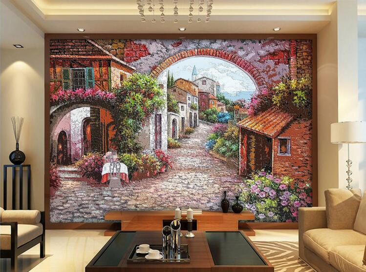 3d room wallpaper custom mural non-woven wall sticker European town streets of flowers painting photo 3d wall murals wallpaper custom photo 3d wallpaper non woven mural 3d wall murals wallpaper for living room european watercolor roses decoration painting
