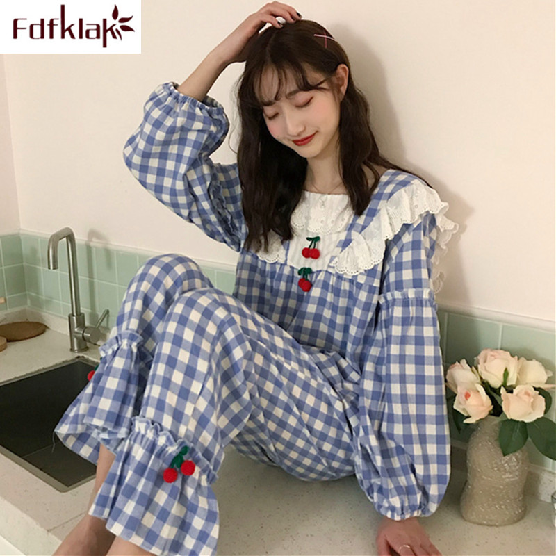Fdklak Korean new women's   pajamas     set   long sleeve plaid homewear clothes ladies sleep pijama sweet cotton girl pyjamas   sets