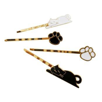 4 sztuk klips do włosów kot wzór piękny delikatny ze stopu biżuteria do włosów spinki do włosów Barrettes Bobby Pin dla kobiet dziewczyn