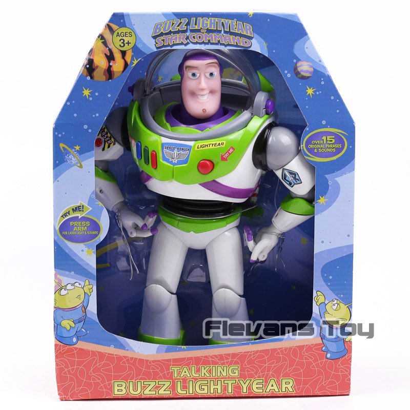 Toy Story Talking Buzz Lightyear Star Command PVC Action Figure Collectible Model Toy with Light