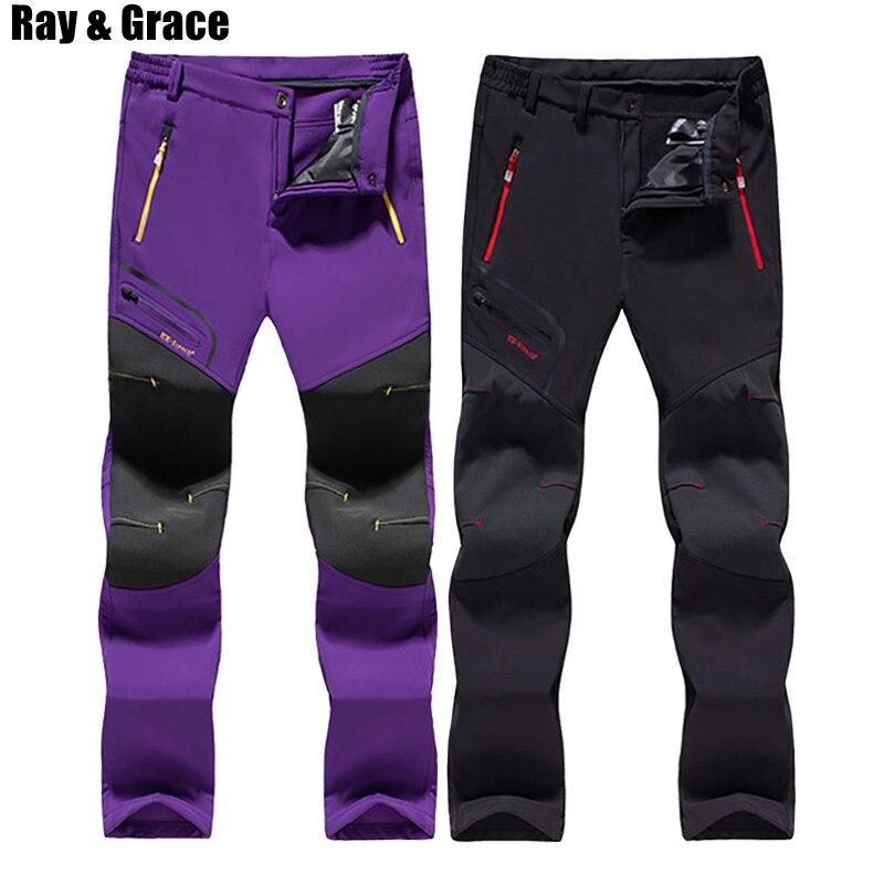 RAY GRACE Winter Warm Pants For Women Outdoor Sport Fleece Hiking Pants Waterproof Softshell Trousers Trekking Skiing Fishing