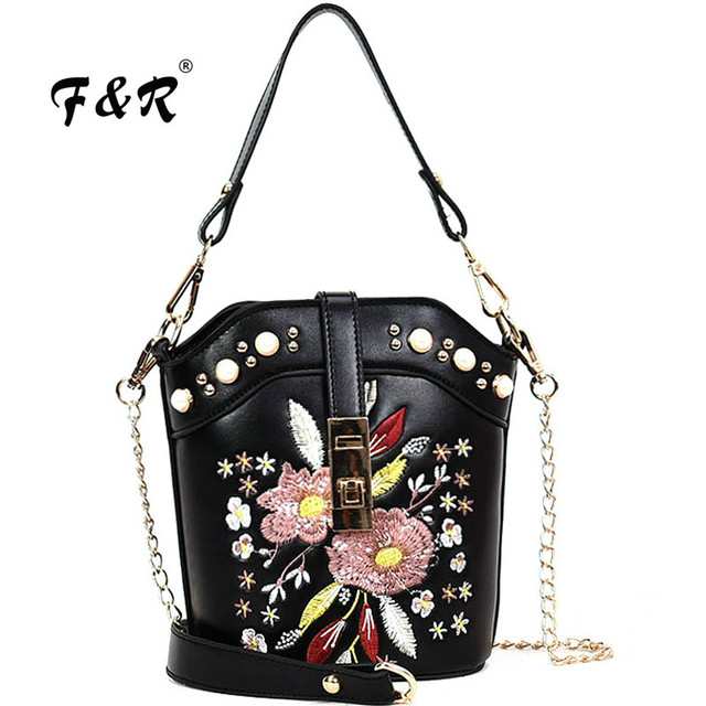 Fashion Embroidered Flower Bucket Handbag Small Crossbody Bags Women Chain Shoulder  Bag Lady Tote Clutch Purse Sac louis gg bag 941adebc74485