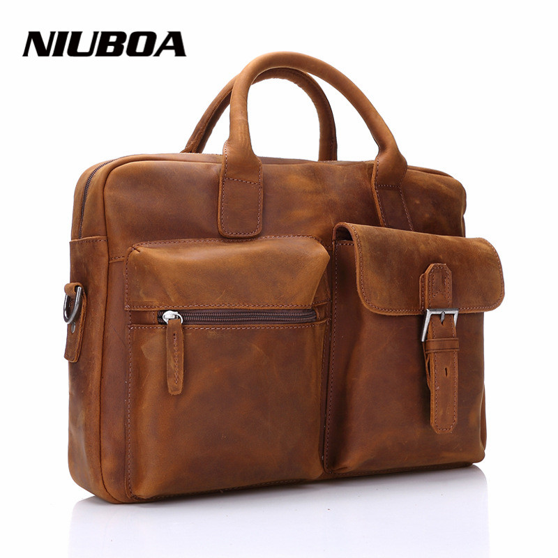 NIUBOA Genuine Leather Handbag Fashion Men Bags Messenger Bag Top Business Men Laptop 100% Real Leather Briefcase Shoulder Bags цена