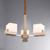Nordic Vintage Creative Wooden Chandelier Lighting Three E27 Bulbs Chandeliers Wood Lamp Glass Lampshade PL355 3