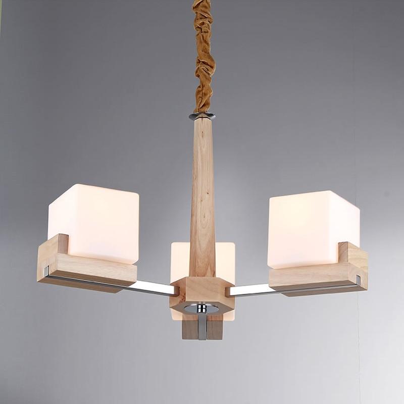 US $227.99 5% di SCONTO|Nordic Vintage Creativo Illuminazione Lampadario In  Legno Tre Lampadine E27 Lampadari Paralume In Vetro Lampada PL355 3-in ...