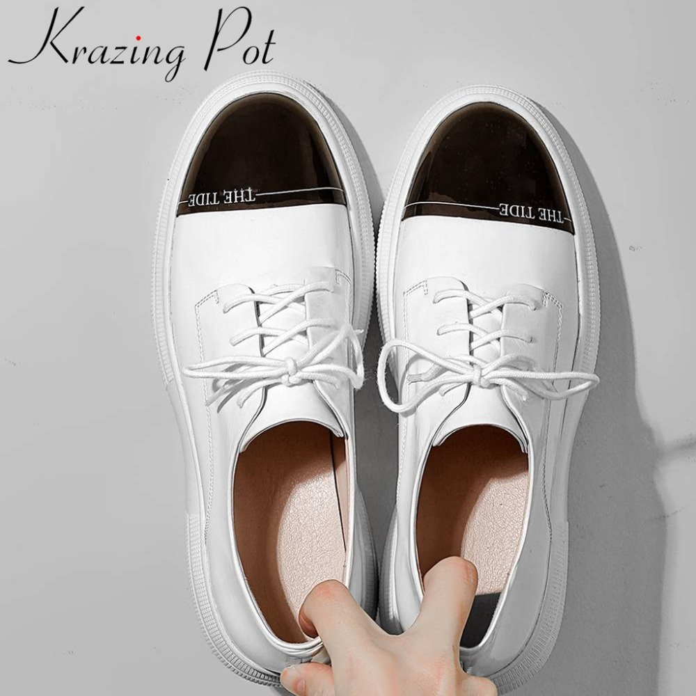 Krazing Pot Spring Brand Mixed Colors Concise Design Round Toe Thick Bottom Platform Cow Leather Big Size Vulcanized Shoes L1f5
