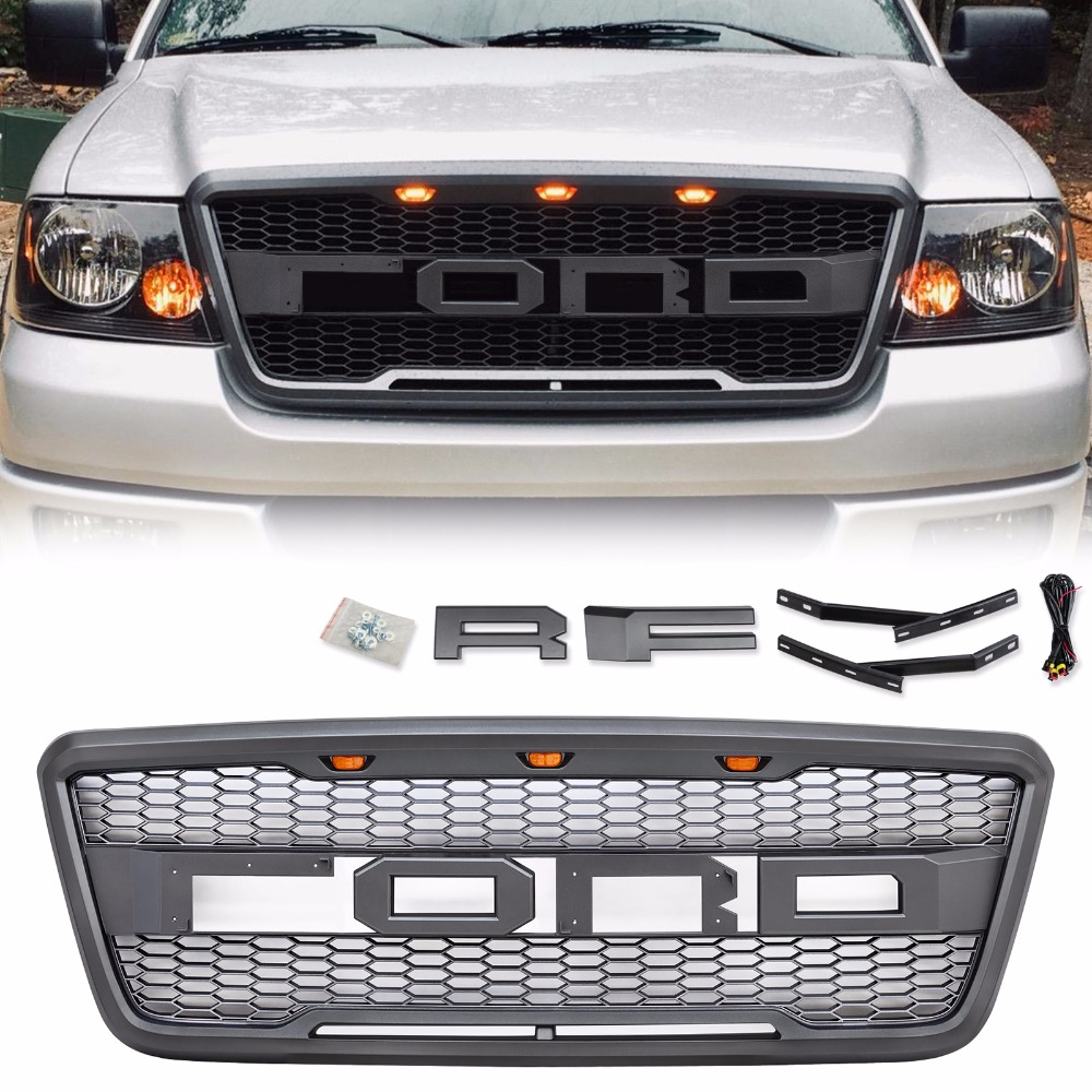 For 2004 2008 Ford F150 Raptor Style Conversion Front Hood Grille