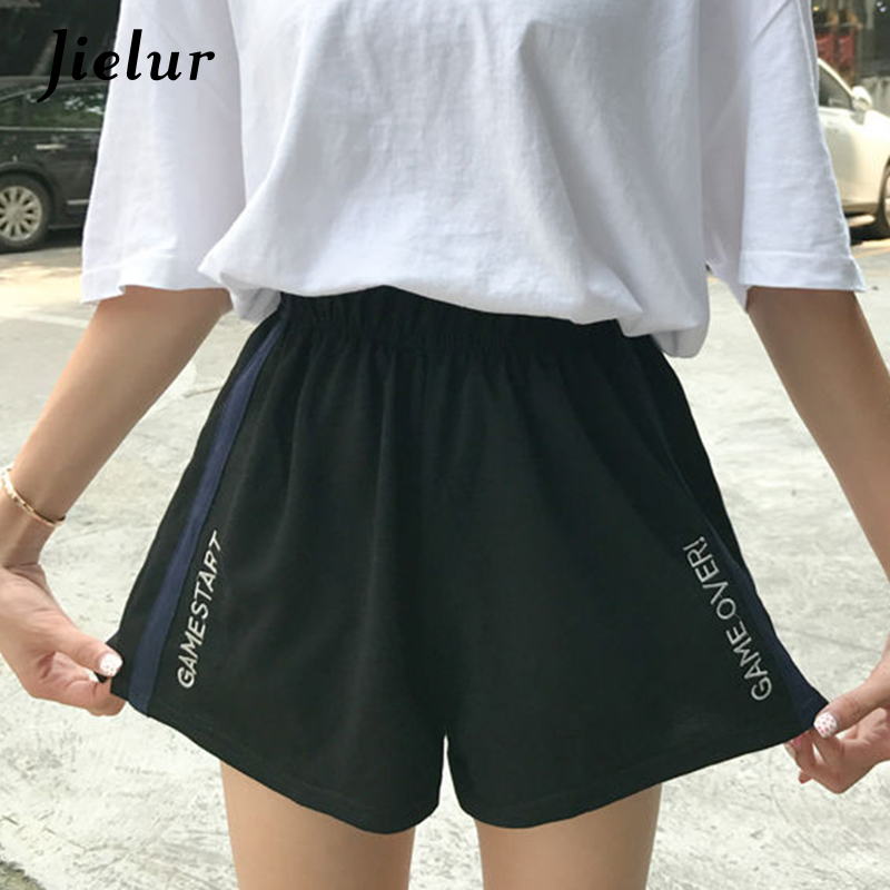 Jielur Loose Shorts Black Summer Embroidery Elastic-Waist Feminino Side-Stripe Letter