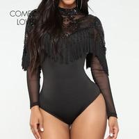 Comeonlover Tassel Sequined Rompers Body Femme Long Sleeve Regular Sexy Bodysuits M L Sheer Mesh Sleeve Women Bodysuit RI80787