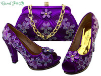 Purple Color Shoes And Bag Set African Sets 2017 Italian Ladies Shoes And Bag Set Decorated