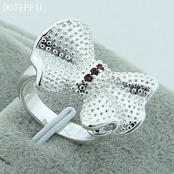 DOTEFFIL 925 Sterling Silver Bow-Knot Butterfly Ring For Women Wedding Engagement Party Fashion Charm Jewelry doteffil 925 sterling silver butterfly aaa zircon bracelet for women fashion wedding engagement party charm jewelry