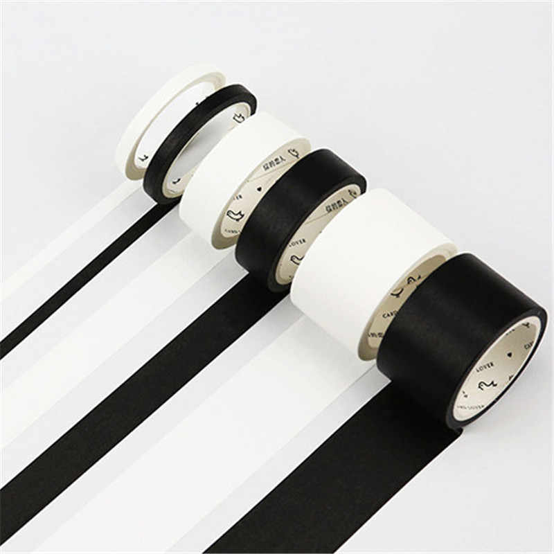 5 мм/15 мм однотонная белая черная Базовая декоративная бумага, записываемая клейкая лента для маскировки васи, школьные принадлежности, канцелярские принадлежности|Офисный скотч|   | АлиЭкспресс