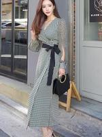 High Quality Hot Sale 2018 Autumn New Arrival Fashion V Collar Plaid Long Sleeve A Patterned Woman Chiffon Long Dress