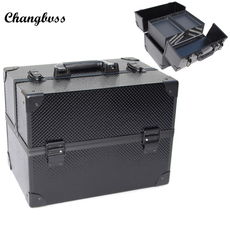 Luxury Multi Layer Double Open Women Cosmetic Bag Professional Travel Makeup Organizer Suitcase Toiletry Storage Box necessaire travel aluminum blue dji mavic pro storage bag case box suitcase for drone battery remote controller accessories